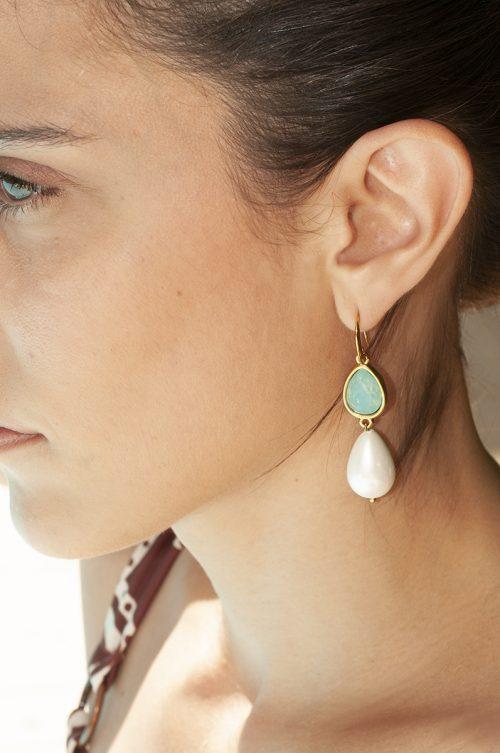 Swarovski drop & drop pearl earrings