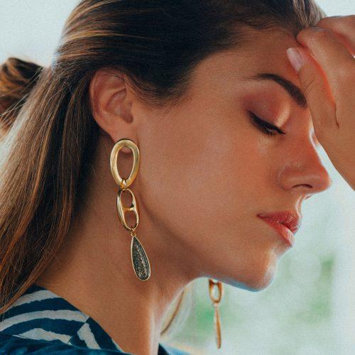 Σκουλαρίκια με σταγόνες από υγρό γυαλί