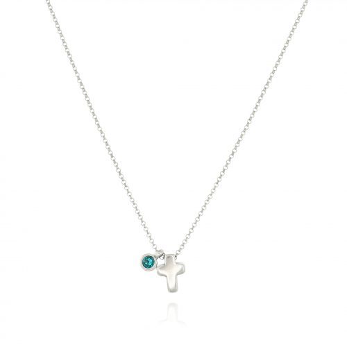 THE SILVERPLATED CROSS NECKLACE WITH SWAROVSKI