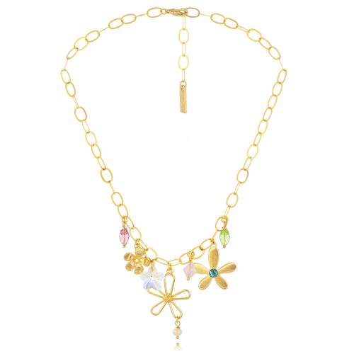 CHAIN NECKLACE WITH GOLDPLATED FLOWERS & COLORFUL SWAROVSKI CRYSTALS