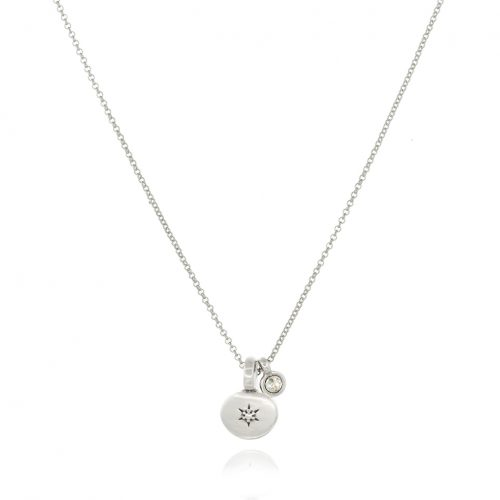 Necklace with silver plated element & crystal