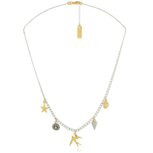 Chain necklace with swallow & elements