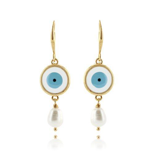 Σκουλαρίκια μάτι με σμάλτο & πέρλα
