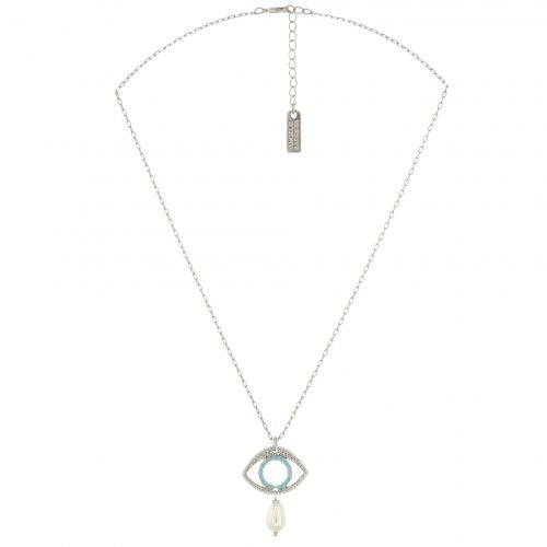 Silver plated pearl drop necklace with evil eye