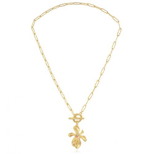 Κολιέ με κούμπωμα ταφ λουλούδι & κρύσταλλα