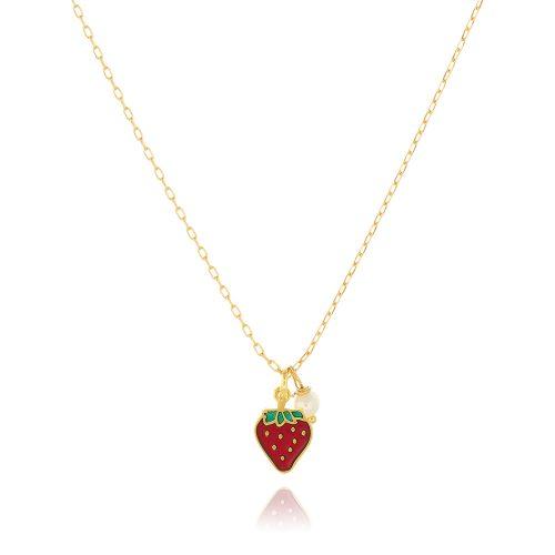 Επίχρυσο κολιέ αλυσίδα με φράουλα