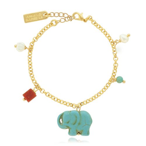 Βραχιόλι με επίχρυση αλυσίδα & ελέφαντα