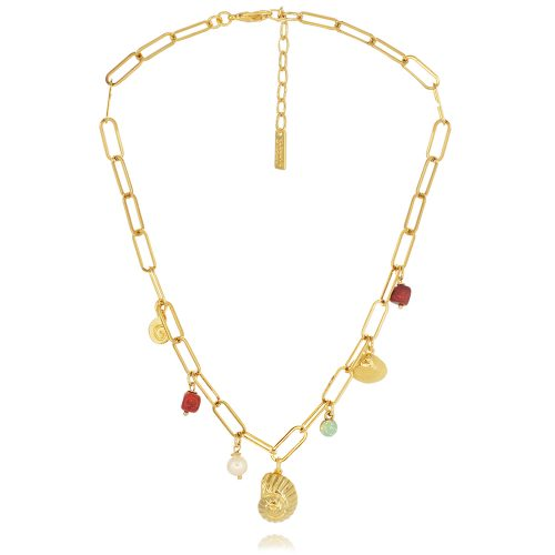 Gold plated chain necklace with shells